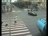 Crazy Car, Pedestrian, Motorcycle Accident At Intersection!